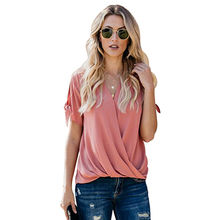 Charismatic Drape Women Blouse Tops Summer Casual made of  95%Polyester+5%Spandex dcc308f5f