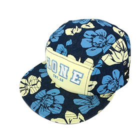 b66bb257a341c3 Top Quality Allover Flower Print Five Panel Embroidery Cap Hat