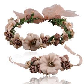 2Pcs//Set Kids Girls Imitation Flower Garland Headband Bracelet Party Decor