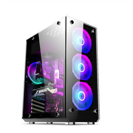 Firstsing Black USB 3.0 RGB MicroATX Tower Tempered Glass Panels Gaming Computer Case