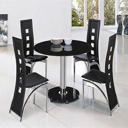 Mini Round Glass Dining Chair and Table from  Langfang Peiyao Trading Co.,Ltd