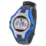 China Plastic Digital Wristwatch with Stainless Steel Buckle, 30m Water Resistance and Dual-color Strap