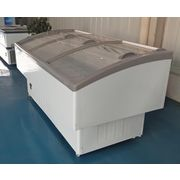 China Curved glass cover commercial seafood freezer
