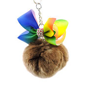 Fancy faux fur ball and bow keychain from  HK Yida Accessories Co. Ltd