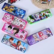 China Double open pencil case with pencil sharpener, OEM cartoon pattern designs plastic pencil box