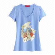 Women's V-neck T-shirt from  Fuzhou H&f Garment Co.,LTD