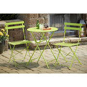 3-piece folding bistro set, durable, powder-coated steel frame, chair weight capacity 250 pounds