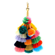 Fancy faux fur ball and tassel keychain from  HK Yida Accessories Co. Ltd