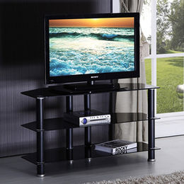 China Stainless steel TV cabinet, tempered glass top
