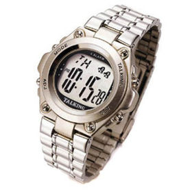 All Stainless Steel LCD Talking Wristwatch from  Ultmost Technology Group