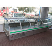 China Commercial front open sliding door meat showcase