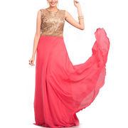 Pink Faux Georgette Sequins Work Floor Length Gown