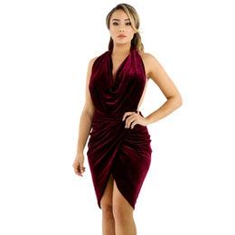 Burgundy Draped Bodycon Dress from  Nan'an City Shiying Sexy Lingerie Co. Ltd