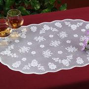 Waterproof Vinyl Rigid Lace Placemat, Measures 12 x 18 Inches, Oval