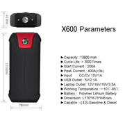 China 13800mAh capacity power bank, multifunction car jump starter
