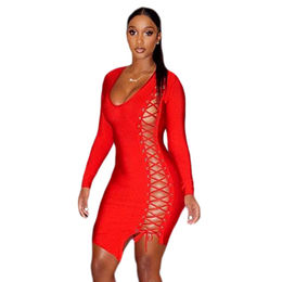 Red Side Lace Up Long-sleeved Bandage Dress from  Nan'an City Shiying Sexy Lingerie Co. Ltd