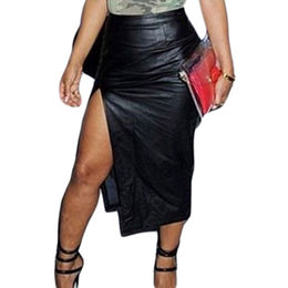 Black Faux Leather Front Slit Skirt from  Nan'an City Shiying Sexy Lingerie Co. Ltd