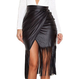 Black High Waist Faux Leather Fringed Skirt from  Nan'an City Shiying Sexy Lingerie Co. Ltd
