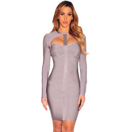 Grey Cut Out Long Sleeves Bandage Dress from  Nan'an City Shiying Sexy Lingerie Co. Ltd