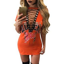 Orange Lace Up V-neck Printed Mini Shirt Dress from  Nan'an City Shiying Sexy Lingerie Co. Ltd