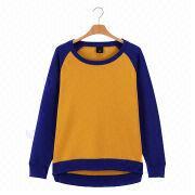 New trendy women's crew neck pullovers sweatshirts from  Fuzhou H&f Garment Co.,LTD