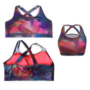 China Women's sports bra with removable padding, AOP fabric, wicking function
