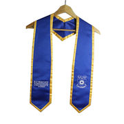 Royal Blue, Embroidered, Graduation Stoles with Gold Rim