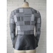 China Women's blouses with PU, invisible zipper at side seam