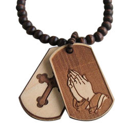 Wooden dog tag necklace from  Ningbo Fashion Accessories Factory
