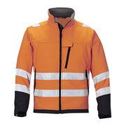 Security fluorescent orange softshell jacket from  Fuzhou H&f Garment Co.,LTD