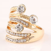 Gold Rhinestone Cocktail Ring from  HK Yida Accessories Co. Ltd