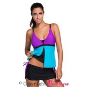 China Purple Blue Colorblock Tankini Skirt Bottom Swimsuit, Made of Polyamide+Elastane, OEM Orders