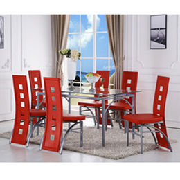 Tempered glass restaurant dining table from  Langfang Peiyao Trading Co.,Ltd
