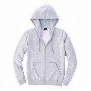Classic plain gray men's zip hoodies from  Fuzhou H&f Garment Co.,LTD