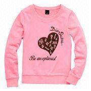 Light pink women's crew neck pullovers sweatshirts from  Fuzhou H&f Garment Co.,LTD