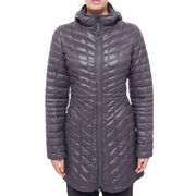 Grey long soft quilted winter jacket from  Fuzhou H&f Garment Co.,LTD