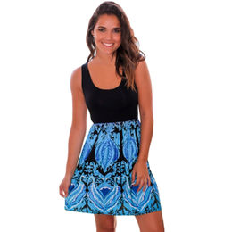 Aqua Printed Short Dress from  Nan'an City Shiying Sexy Lingerie Co. Ltd