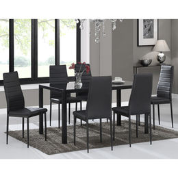 Cheap tempered glass dining table set from  Langfang Peiyao Trading Co.,Ltd