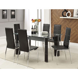 New style glass dining table set 6 chairs from  Langfang Peiyao Trading Co.,Ltd
