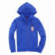Plain blue women's hoodies from  Fuzhou H&f Garment Co.,LTD