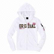 Plain white ladies' hoodies from  Fuzhou H&f Garment Co.,LTD