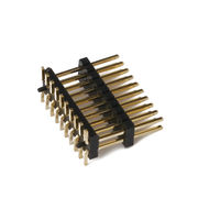 China 1.27mm Pitch Pin Header, H = 2.0, SMT Type and Dual-row, Dual Layer, PA6T, Brass Contact