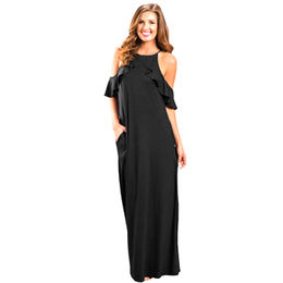 Black Ruffle Sleeve Cold Shoulder Maxi Dress from  Nan'an City Shiying Sexy Lingerie Co. Ltd