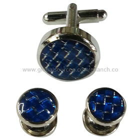 Royal Blue Metal Cufflinks and Studs from  Chanch Accessories International Co. Ltd