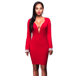 Red Jeweled Cuffs Low V Neck Dress from  Nan'an City Shiying Sexy Lingerie Co. Ltd