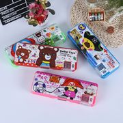 China Double open pencil case with pencil sharpener, OEM designs plastic pencil box PVC