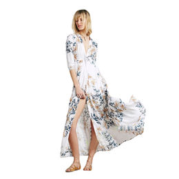 White Floral Shirt Dress Long Duster Beachwear from  Nan'an City Shiying Sexy Lingerie Co. Ltd
