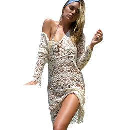 Cream Flowery Crochet Long Beach Dress from  Nan'an City Shiying Sexy Lingerie Co. Ltd