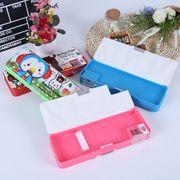 China Double open pencil case with pencil sharpener, OEM designs plastic pencil box, cartoon pencil box