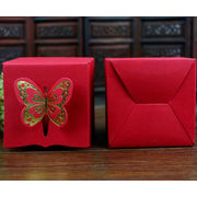 China Ivory paper candy box with hot stamping the butterfly
